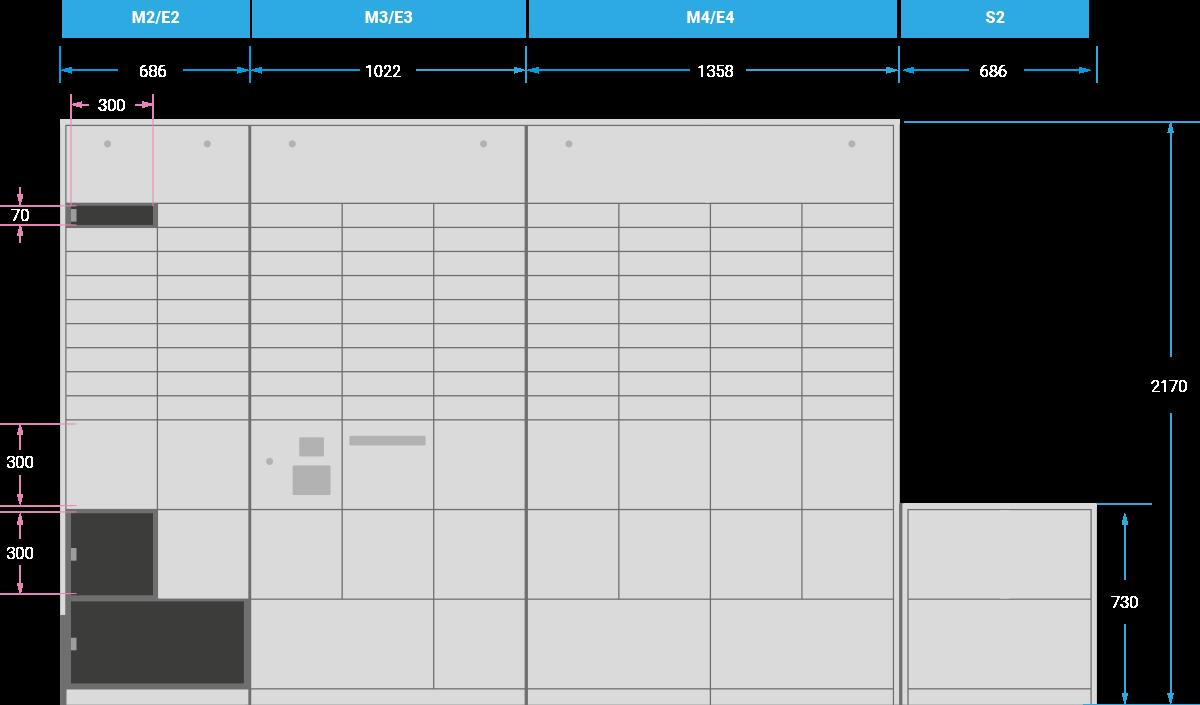 Modulares Schranksystem von NetLocker - Bestandteile
