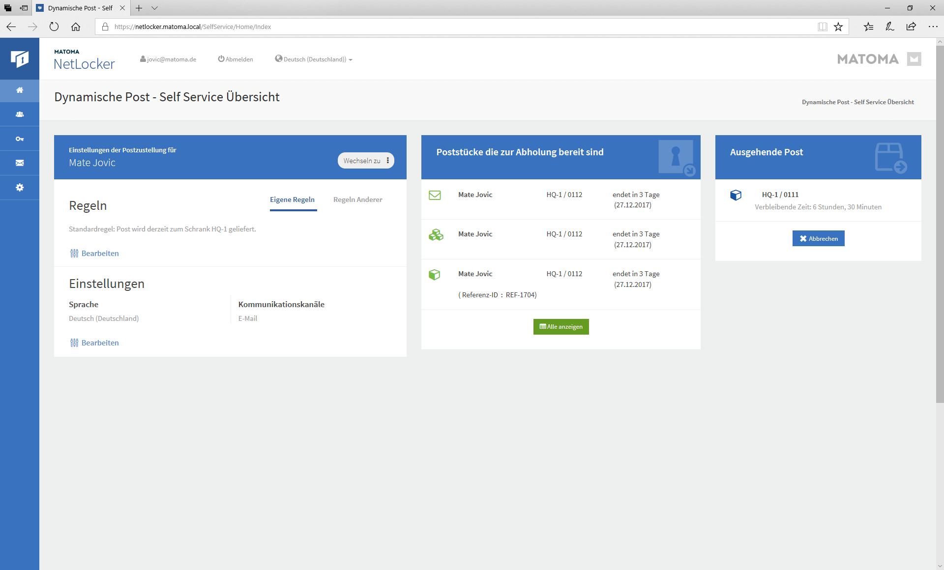Screen SelfService Übersicht von NetLocker zur dynamischen Postverteilung