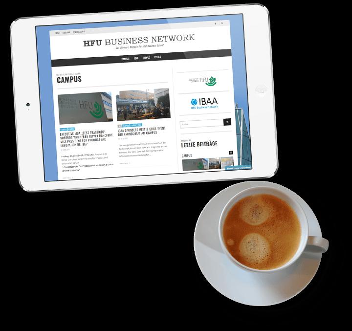 Tablet mit Screen der HFU mit Kaffee