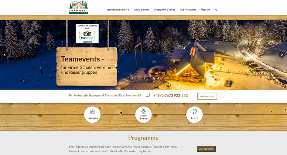 Screen der Teamwelt-Homepage