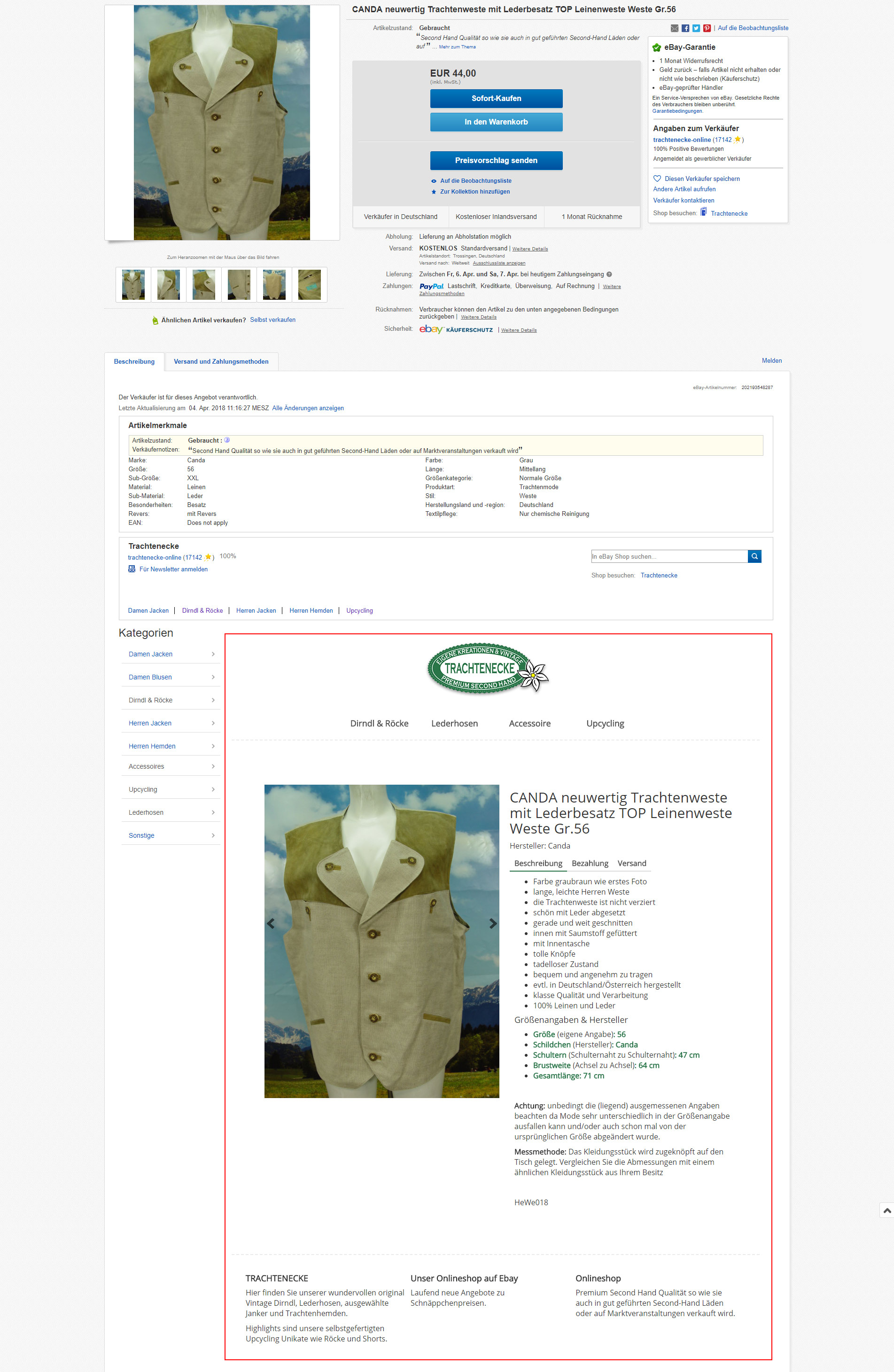 Ansicht Artikelbeschreibung Ebay Shop Strukturiert Nachher Matoma