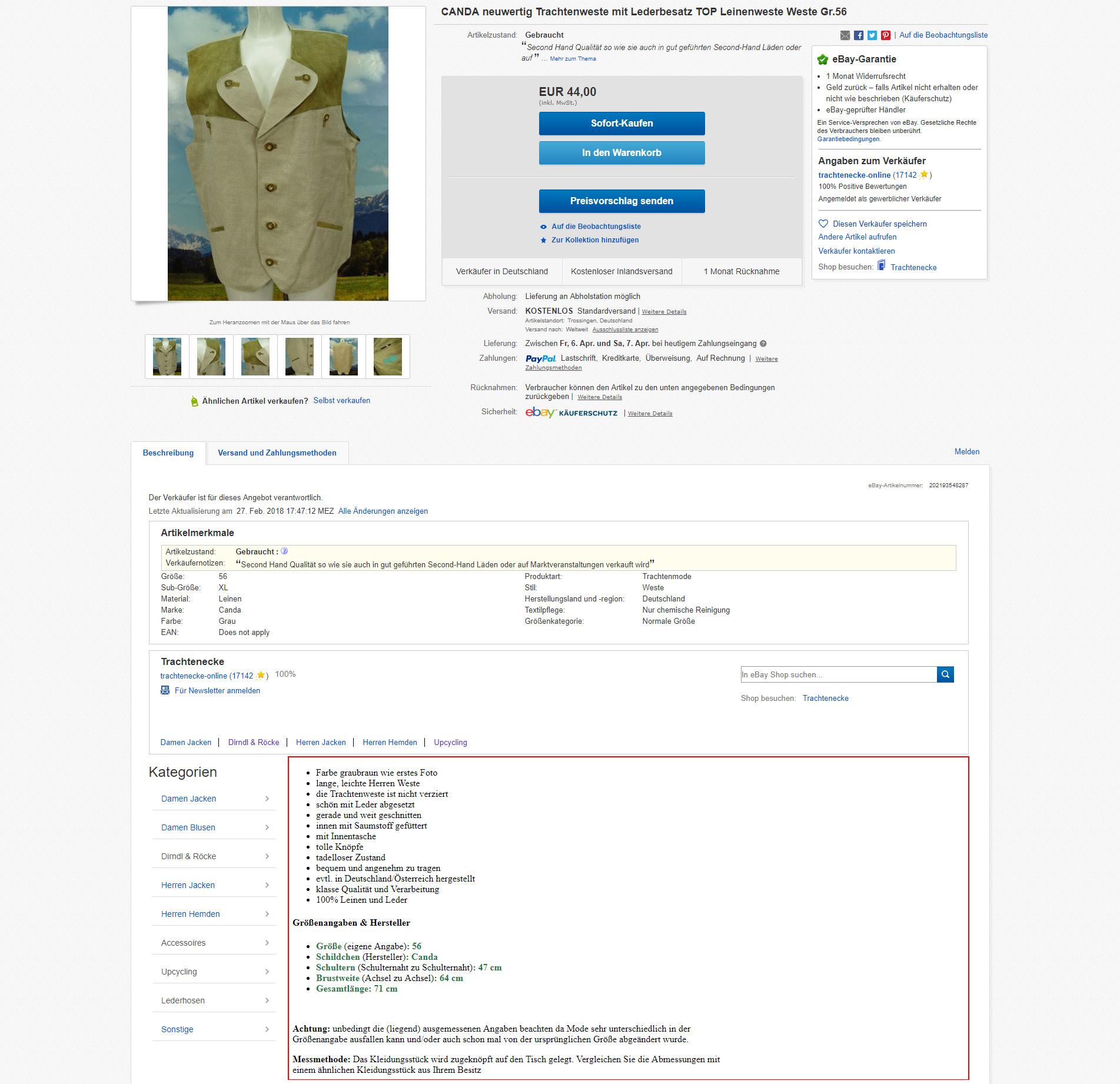 Ansicht Artikelbeschreibung Ebay Shop Vorher Matoma Internet